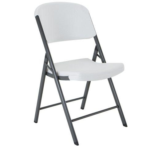 Lifetime Commercial Grade Contoured Folding Chair, White Granite