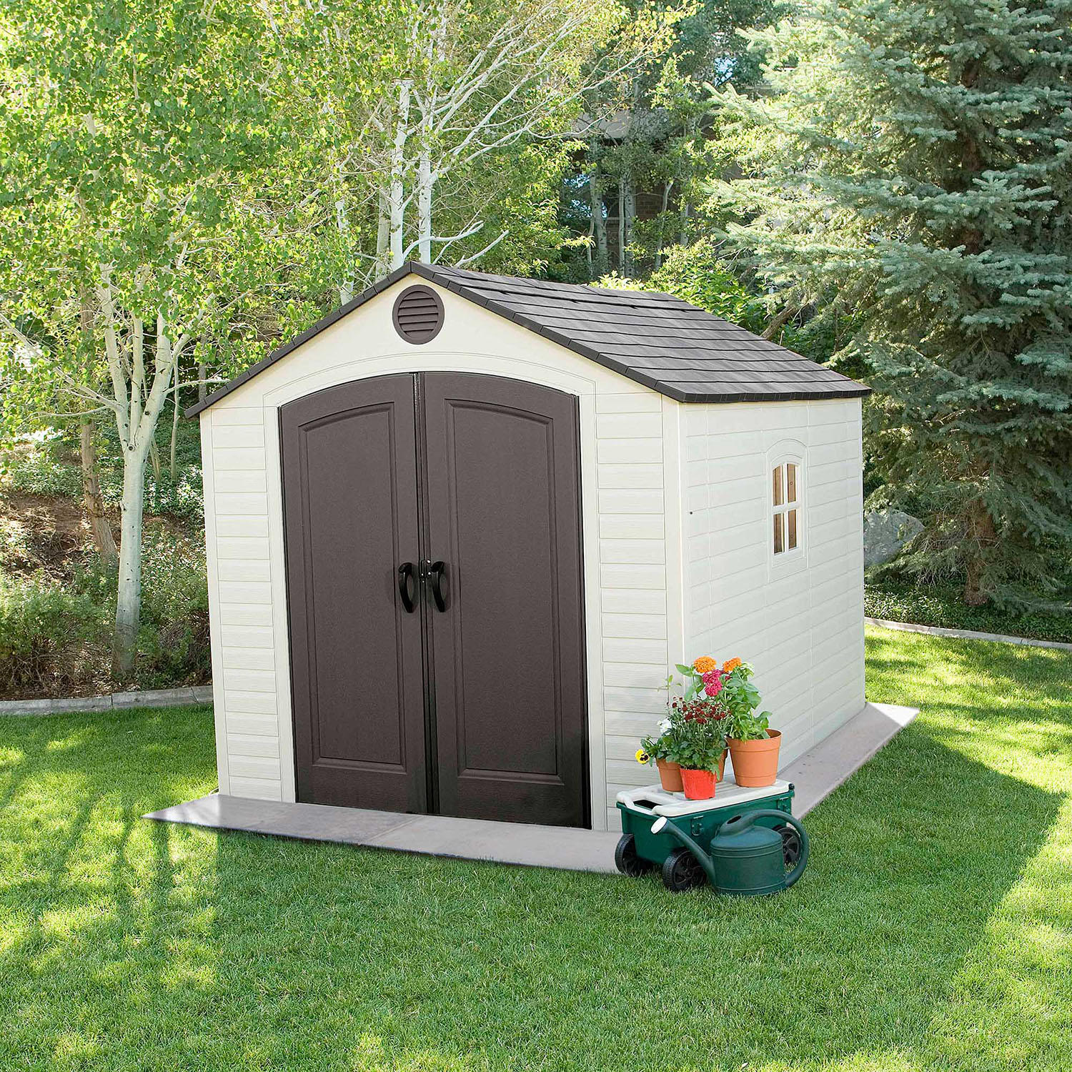 Lifetime 6405 8-by-10-Foot Outdoor Storage Shed with Window, Skylights, Shelving