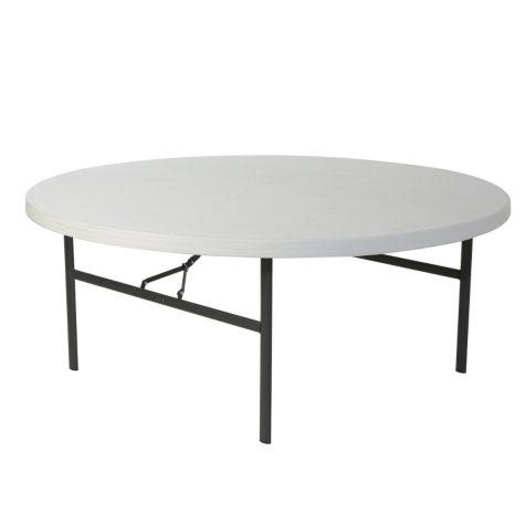 """Lifetime 72"""" Round Commercial Grade Folding Table, White Granite"""