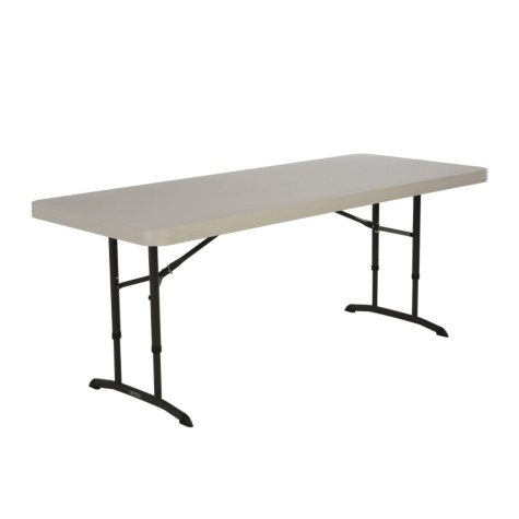 Lifetime 6' Adjustable Height Commercial Grade Folding Table, Almond