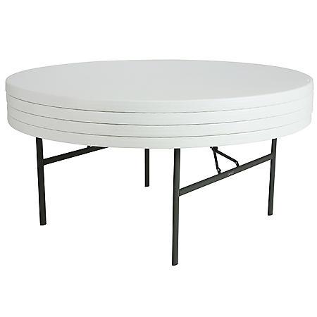 """Lifetime 72"""" Round Commercial Grade Folding Table, 4 Pack - White Granite"""