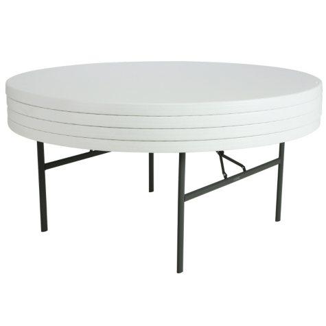 """Lifetime 72"""" Round Commercial Grade Folding Table, White Granite - 4 pack"""