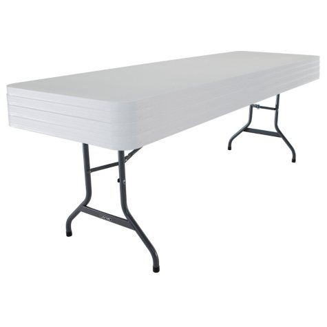 Lifetime 8' Commercial Grade Folding Table, White Granite - 4 pack