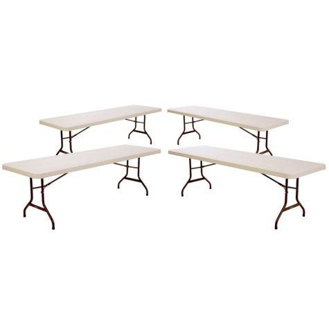Lifetime 8' Commercial Grade Folding Table, Almond - 4 pack