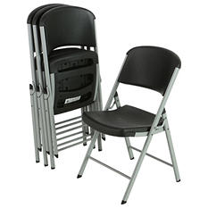 Lifetime Classic Black Commercial Folding Chair, Silver Frame  - 4 pk.