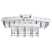 Lifetime Combo - (4) 8' Commercial Grade Nesting Folding Tables, (32) Folding Chairs, White Granite
