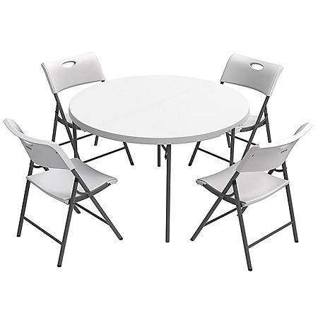 "Lifetime Combo - 48"" Round Fold-In-Half Commercial Grade Table and (4) Folding Chairs, White Granite"