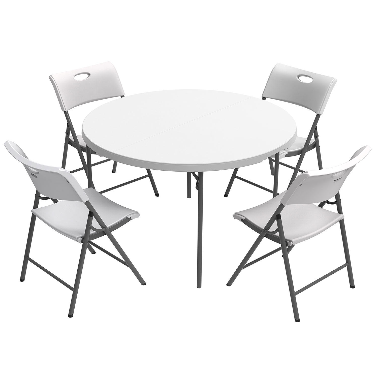 "48"" Round Fold In Half Commercial Grade Table & 4 Folding Chairs"