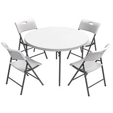 "Lifetime Combo-One 48"" Round Fold-In-Half Commercial Grade Table and 4 Folding Chairs, White Granite"