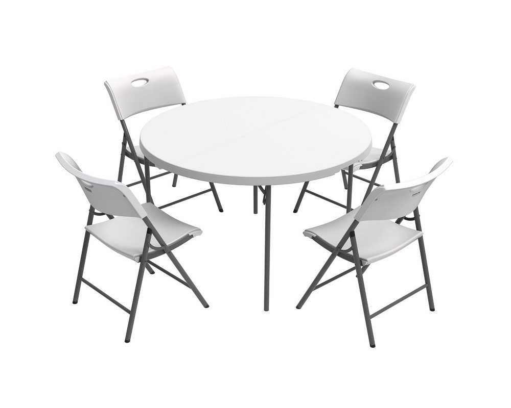 Lifetime Combo One 48 Round Fold In Half Commercial Grade Table and 4 Folding Chairs, White Granite