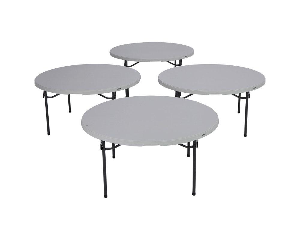 Lifetime 60 Round Commercial Grade Folding Table, White Granite   4 pack