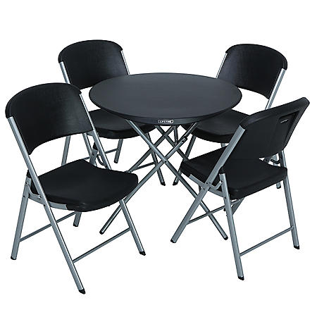 """Lifetime Combo - 33"""" Round Personal Folding Table and (4) Folding Chairs Set, Black"""