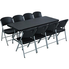 Lifetime Combo- One 6' Commercial Grade Folding Table and 8 Folding Chairs, Black