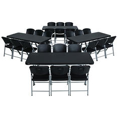 Lifetime Combo-Four 6' Commercial Grade Folding Tables and 24 Folding Chairs, Black