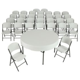 "Lifetime Combo - (4) 60"" Round Commercial Grade Folding Tables and (32) Folding Chairs, Choose a Color"