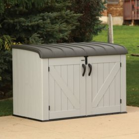 keter rockwood 150 gallon outdoor plastic storage box sam s club