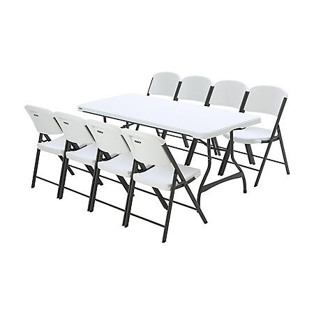 Lifetime Combo - Banquet 6' Commercial Table and (8) Folding Chairs, Assorted Colors