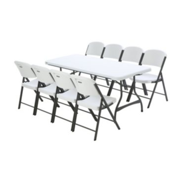 Lifetime Combo-One Banquet 6' Commercial Table and 8 Folding Chairs, White Granite