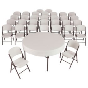 """Lifetime Combo - (4) 60"""" Round Commercial Grade Folding Tables and (32) Folding Chairs, Choose a Color"""