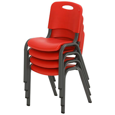 Lifetime Children S Stack Chair Fire Red 4 Pack Sam S