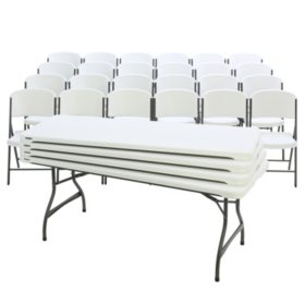 Lifetime Super Combo - (12) 6' Commerical Grade Tables and (72) Folding Chairs, White Granite