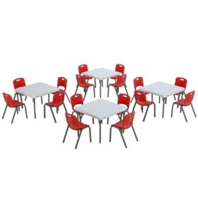 "Lifetime Children's Combo - (4) 29"" Commercial Grade Tables and (16) Stack Chairs, Choose a Color"