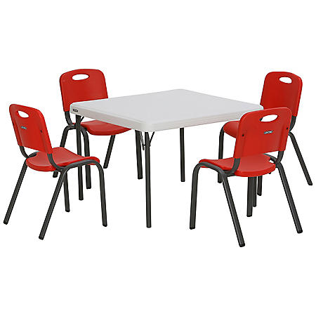 """Lifetime Children's Combo - 29"""" Commercial Grade Table and (4) Stack Chairs, Choose a Color"""