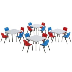 """Lifetime Children's Mixed Combo - (4) 29"""" Commercial Grade Tables and (8) Fire Red and (8) Dragonfly Blue Stack Chairs"""