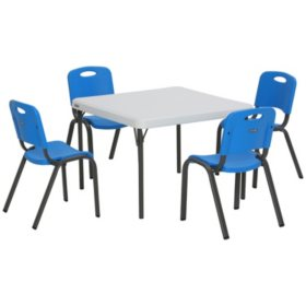 Lifetime Childrens Combo 29 Commercial Grade Table And 4 Stack Chairs