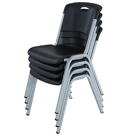 Lifetime Contoured Stacking Chair, Black