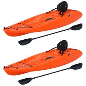"Lifetime Hydros Orange 101"" Kayak, 2 Pack"