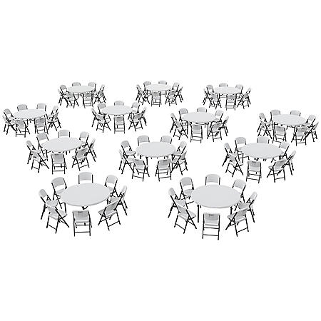 """Lifetime Super Combo - (12) 60"""" Round Commercial Grade Folding Tables and (96) Folding Chairs, White Granite"""
