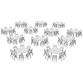 "Lifetime Super Combo - (12) 60"" Round Commercial Grade Folding Tables and (96) Folding Chairs, White Granite"