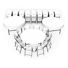 "Lifetime Super Combo-Twelve 72"" Round Commercial Grade Folding Tables and 120 Folding Chairs, White Granite"