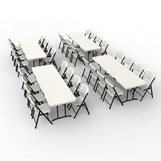 Lifetime Combo-Four 8' Fold-In-Half Commercial Grade Folding Tables and 32 Folding Chairs, Almond
