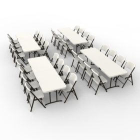 Lifetime Combo - (4) 8' Fold-In-Half Commercial Grade Folding Tables and (32) Folding Chairs, Almond