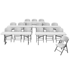"Lifetime Combo - (5) 6' L x 18"" W Seminar Tables and (16) Folding Chairs, White"