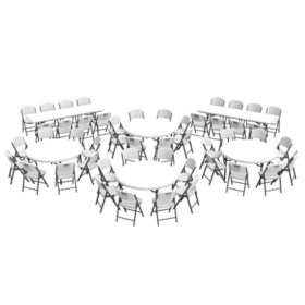 "Lifetime Combo - (4) 60"" Tables, (2) 8' Tables and (48) Folding Chairs, White Granite"