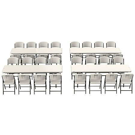 Lifetime Combo - (4) 8' Commercial Grade Nesting Folding Tables and (32) Folding Chairs, Choose a Color