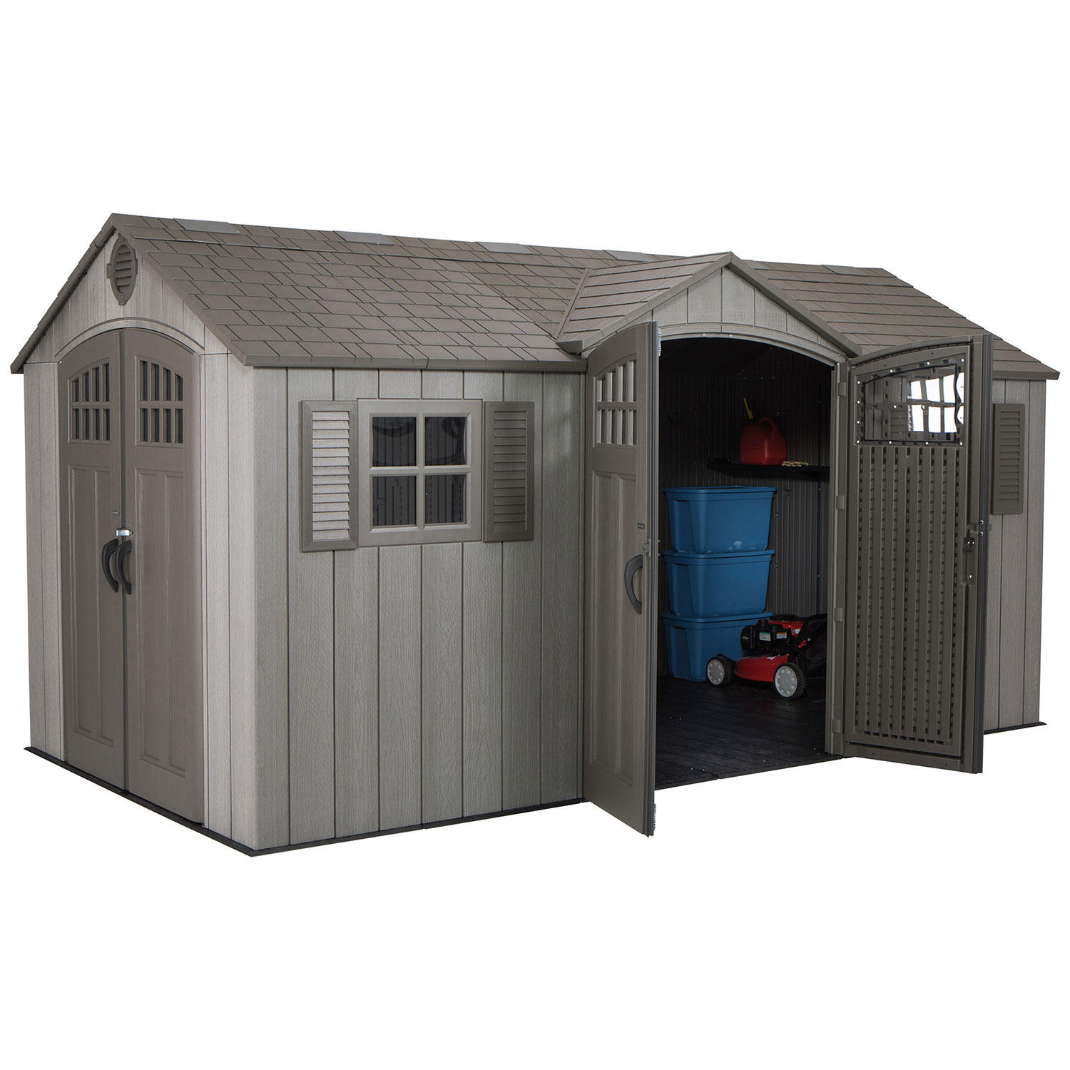 "Lifetime 15"" X 8"" Rough Cut Dual-Entry Outdoor Storage Shed"