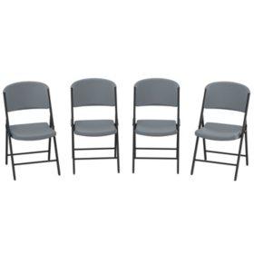 Lifetime Commercial Grade Contoured Folding Chair, 4 Pack, Choose a Color