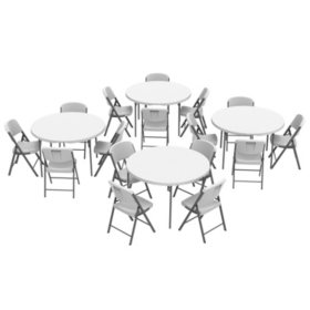 Lifetime (4) 48-Inch Round Fold-In-Half Tables and (16) Chairs Set, 80819