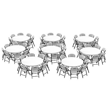 Lifetime 60-Inch Round Fold-In-Half Tables (8) and Chairs Set (64)