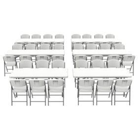 Lifetime Combo (4) 8' Folding Tables, (2) 6' Folding Tables and (44) Folding Chairs - Commercial Grade
