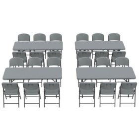 Lifetime Combo - (4) 6' Commercial Grade Folding Tables and (24) Folding Chairs, Choose a Color