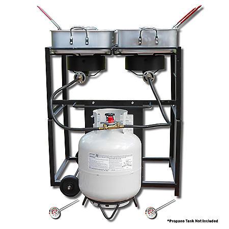 King Kooker Multi-Purpose Portable Propane Outdoor Double Burner Frying Cart