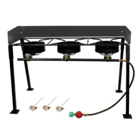 King Kooker, #CS42, Portable Propane 3-Burner Outdoor Camp Stove with Detachable Legs