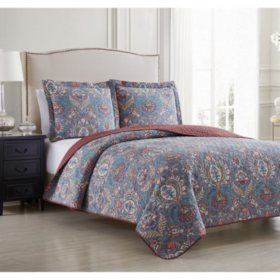 Waverly Newbridge Oversized 3 Piece Reversible Quilt Set (Various Sizes)