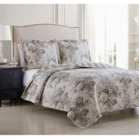 Waverly Ballad Bouquet Oversized 3 Piece Reversible Quilt Set (Various Sizes)