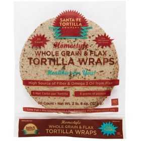 Santa Fe Tortilla Company Homestyle Whole Grain with Flax Tortilla Wraps (20 ct.)